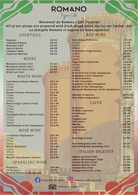 Romano Pizzeria Page 2