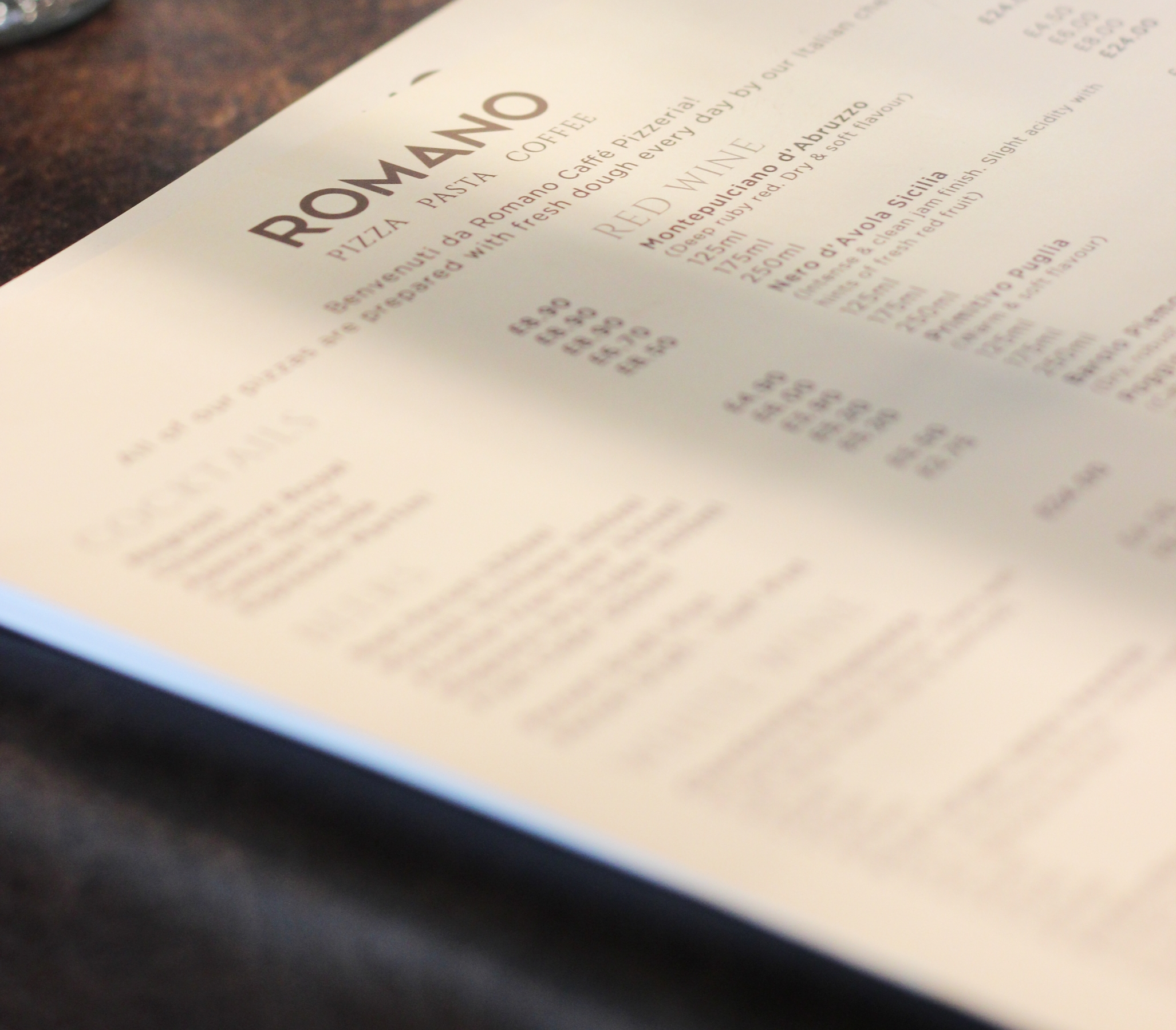 Romano snazzy new menus